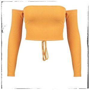 23ebfba345650 Swim - ⭐️love soft rib long sleeve off shoulder crop top